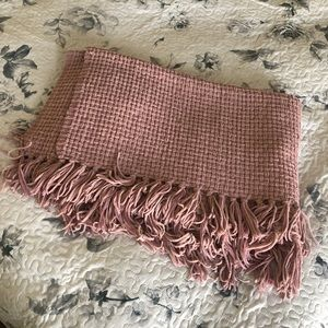Woven Knitted Throw Blanket with Fringe